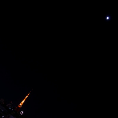 moon and tokyo tower