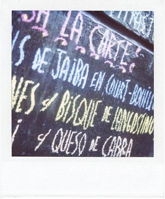 menu with chalk #1