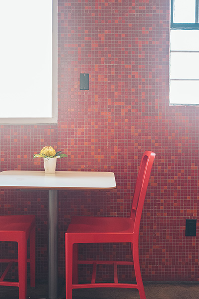 Red Wall and Red Chairs